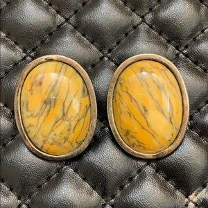 Vintage Navajo Old Pawn Sterling Jasper Earrings